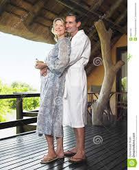 Full Length Bathrobe Couple In Bathrobes Embracing Stock Photography Image 33907702