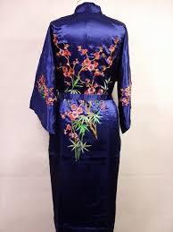 kimono robe de chambre navyblue satin de soie femmes broderie robe robe peignoir kimono