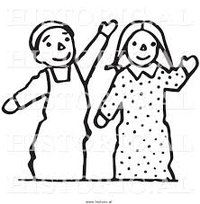 clipart of waving boy and puppets black and white line