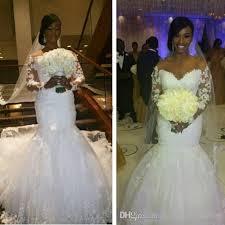 vestido de novia plus size white lace mermaid wedding dresses 2016