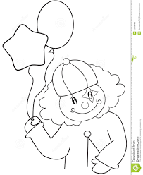 clown with balloons coloring page stock illustration image 52086788