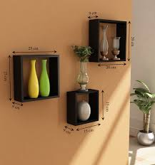Handicraft For Home Decoration by Home Sparkle Wooden Cube Wall Shelf Set Of 3 Black Amazon In
