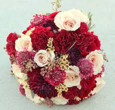burgundy and champagne bridal bouquet dahlias roses carnations