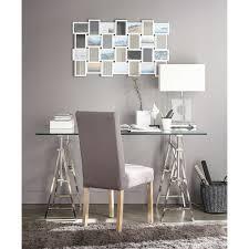 bureau chrome glass and chrome metal desk w 150cm maisons du monde