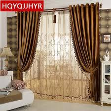 Gold Velvet Curtains European Luxury Gold Coffee Velvet Blackout Curtains For Living