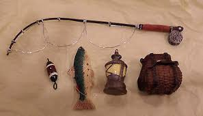 set of 5 fly fishing outdoor decor ornaments pole basket lure
