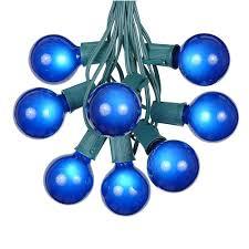 blue satin g50 globe outdoor string light set on green wire