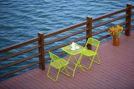 Folding Outdoor Table And Chairs Steel Mesh Folding Outdoor Table And Chairs Patio Furniture Yellow