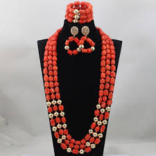 large red beads necklace images Fashion red long design african coral beads jewelry sets indian jpg