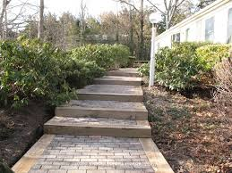 new landscape timber and paver steps outdoors pinterest