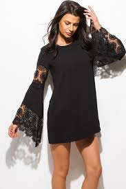 black satin scallop lace trim v neck mini party slip dress v