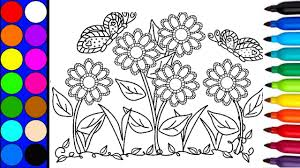 how to draw and paint flowers in the garden colouring pages book