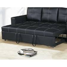 Plush Sofa Bed Esofastore Convertible Sofa Black Faux Leather Modern Accent