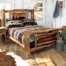 Log Queen Bed Frame Rustic Aspen Log Bed W Metal Wildlife Scene Queen Reclaimed