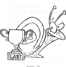 vector of a cartoon snail by a last place trophy cup outlined
