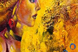 prints painting modern yellow portrait woman abstract painting 9165