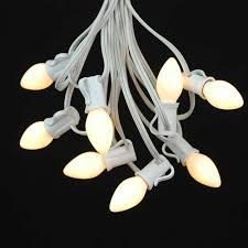 white ceramic c7 outdoor string light set on white wire novelty