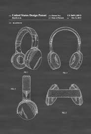 headphone patent patent print wall decor headphone poster