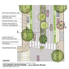plan view colorado boulevard in eagle rock as a green street green street