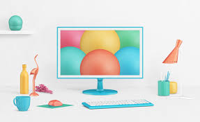 decor items free photorealistic lcd monitor mockup psd with decor items good
