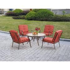 Walmart Mainstays Patio Set Mainstays Ashwood Heights 5 Piece Outdoor Chat Set Red Walmart Com