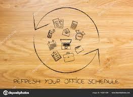 horaire bureau actualiser le symbole avec des objets de bureau recharger votre