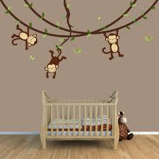 baby wandgestaltung babyzimmer gestalten wandgestaltung affen zweige holzboden