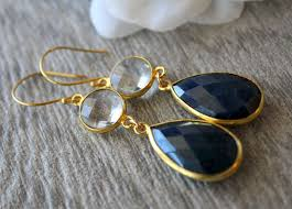 navy blue earrings dyed sapphire and rock drop earrings navy blue