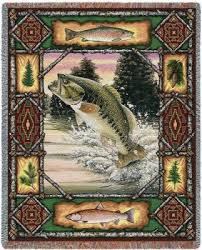 Fishing Rugs Big Mouth Bass Fish Lodge Tapestry Throw Blanket