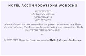 wording for a wedding card wording to use when giving out room block information to out of