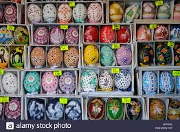 painted easter eggs painted easter eggs displayed for sale prague bohemia