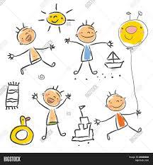 mignons enfants qui jouent sur la plage isolée enfants dessin