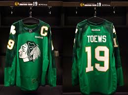 blackhawks will warm up in st patrick u0027s day green jerseys on