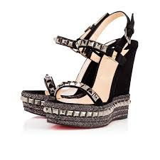 christian louboutin new cataclou suede sandals womens in black
