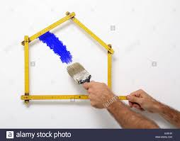 Decorating The Home Professional Painter Decorating The Home White Background Stock