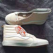 light gray vans womens womens vans leather whispering light pink sk8 hi slim zip skate
