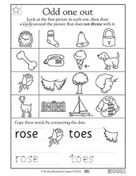 printable rhyming words kindergarten preschool reading writing worksheets rhyming words