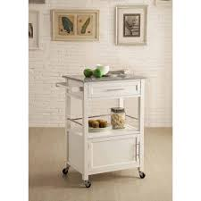 kitchen cart with cabinet mitchell kitchen cart with granite top white finish walmart com