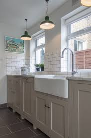 Shaker Style White Kitchen Cabinets Trendy Pendant Lamps Over Cool White Single Farmhouse Sink And