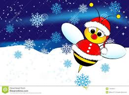 christmas card with a bee santa claus royalty free stock