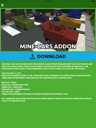 minecraft car cars addons for minecraft pocket edition pe app ranking and