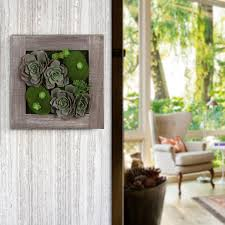 rustic wood framed artificial succulent planter hanging wall art