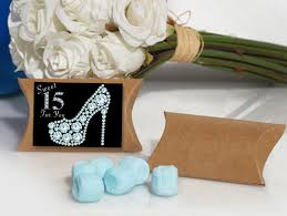 mint to be favors blue mint favor in kraft pillow box sweet 15 design