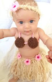 Hula Halloween Costume Baby Toddler Hawaiian Hula Grass Skirt Coconut Bra