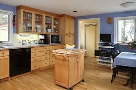 Natural Wood Kitchen Cabinets by Luxury Maple Kitchen Cabinets And Blue Wall Color