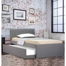 Single Bed Frame With Trundle Selina Fabric King Single Bed Frame Grey W Trundle Buy King