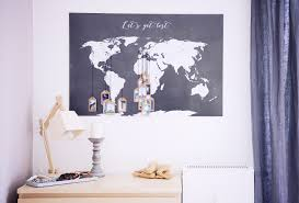 A World Map Rotkehlchen Diy Interior Tagging A World Map With Your Favorite