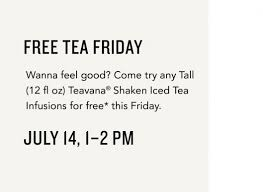 starbucks black friday teavana shaken iced tea free at starbucks 7 14 only