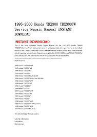 1995 2000 honda trx300 trx300 fw service repair manual instant downlo u2026