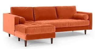 canapé d angle orange canapé d angle 4 places avec méridienne à gauche velours